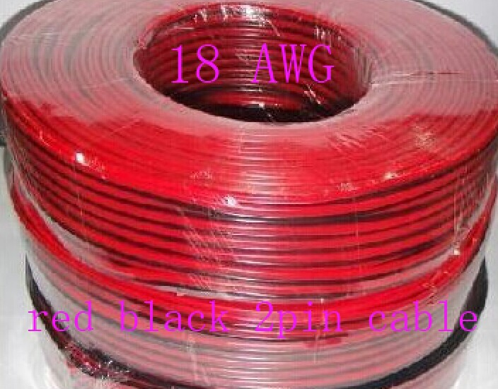 Free shipping+30M/lot, Tinned copper 18AWG,red black 2pin cable, red black 2pin 18 AWG wire +give 3M 5mm black shrink tube.<br><br>Aliexpress