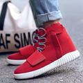 Red Shoes Men Casual Sport Ankle Boots Zipper Lace Up Flock Breathable Non Slip Shoe Bota