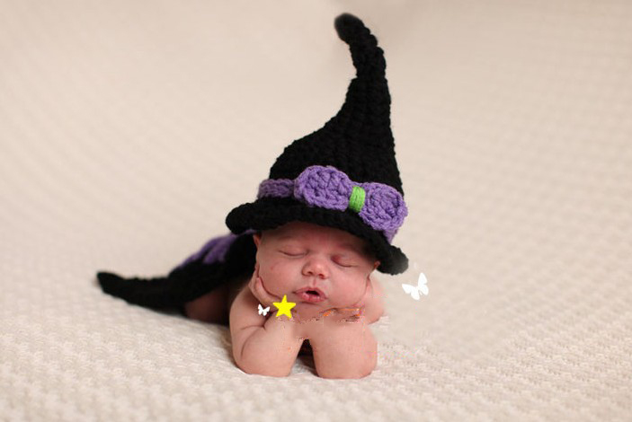 Crochet cute witches hat and cover photography outfits high quality newborn 0-3month photo props unique infant costume 2015(China (Mainland))