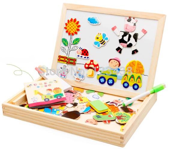 Multifunctional Educational Farm Jungle Animal Wooden Magnetic Puzzle Toys for Children Kids Jigsaw Baby's Drawing Easel Board(China (Mainland))