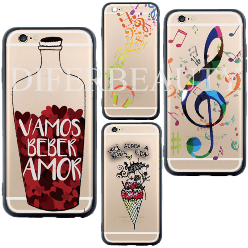 Ice Cream Amor Pattern Phone Case Cover for iPhone 5 5s SE 6 6s plus Colorful Bottle Music Acrylic Silicone Gel Cell Phone Cases