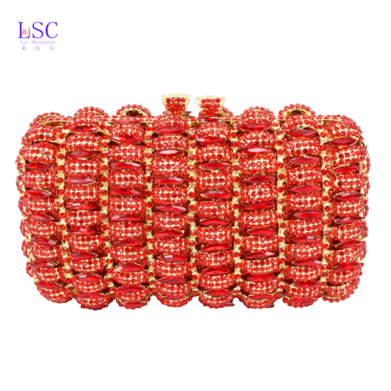 LaiSC new design cocktail party clutch bags French romantic evening bag women handbags red studded jeweled pochette purse SC148(China (Mainland))