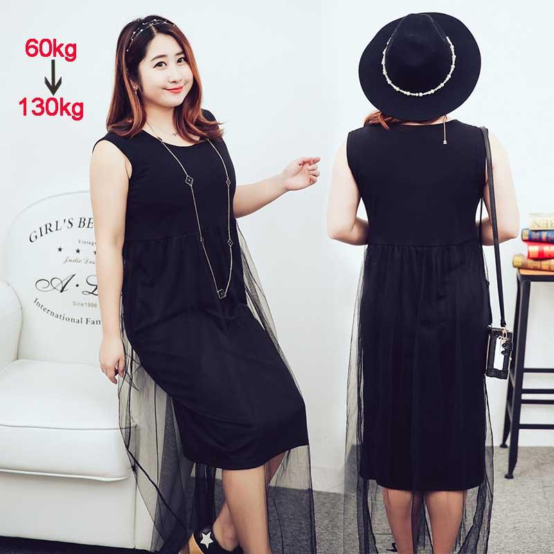 2XL 3XL 4XL Plus Size Women Summer Dress Knee Length Modal Casual Straight Black O Neck Sleeveless Large Tank Mesh Dress 2016(China (Mainland))