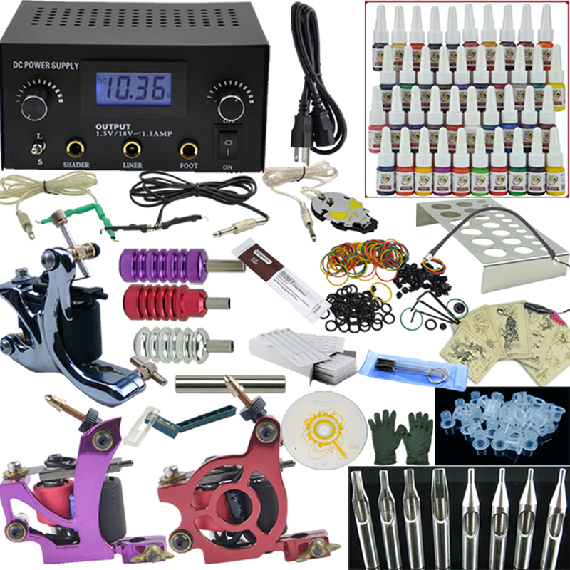 OPHIR Top Tattoo Kit 3 Machine Guns LCD Power Supply 40 Inks Needles Grips Set#TA005