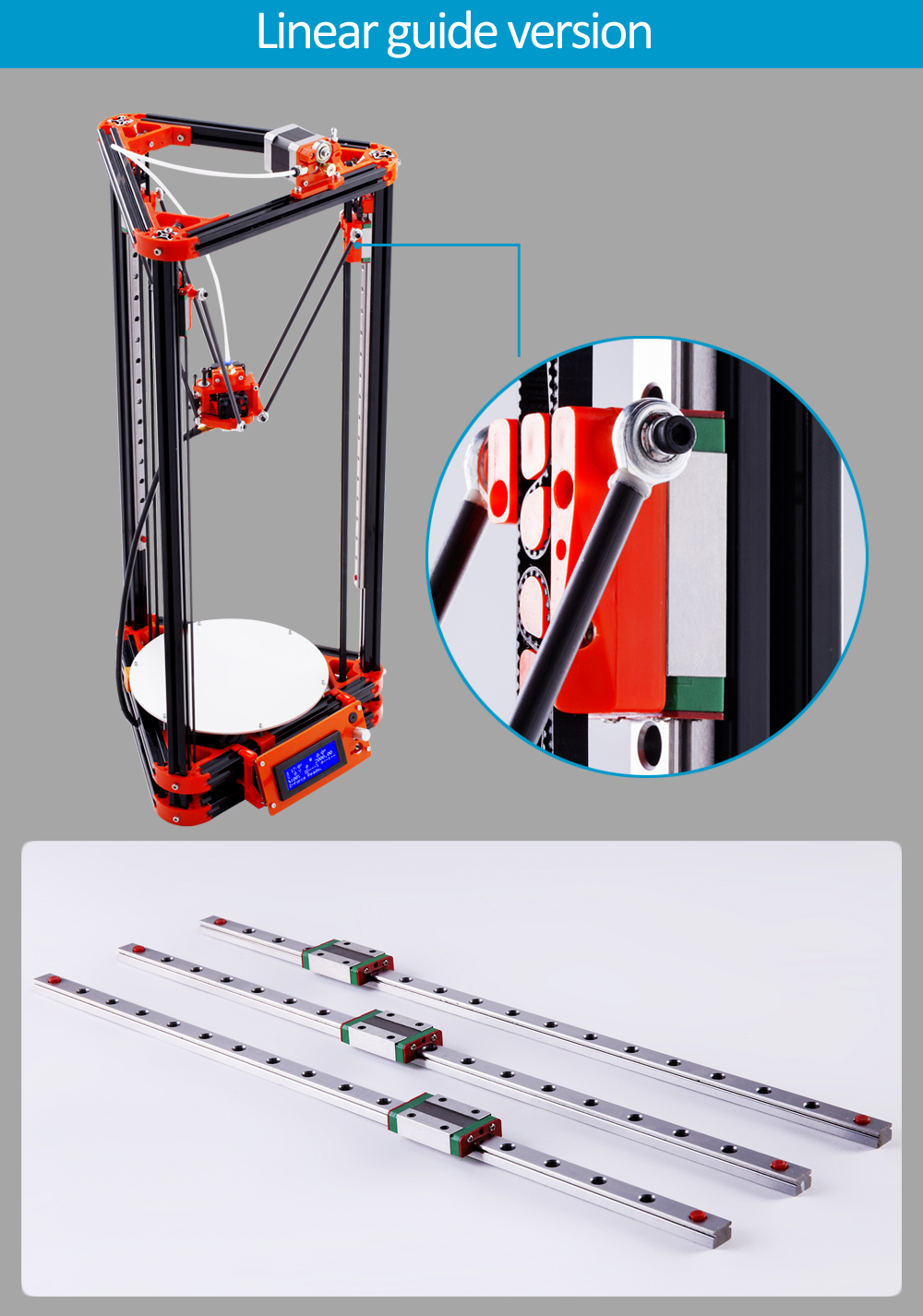 LCD Display Delta Diy 3d Printer Kits With One Roll Filament Masking Tape SD Card For Free