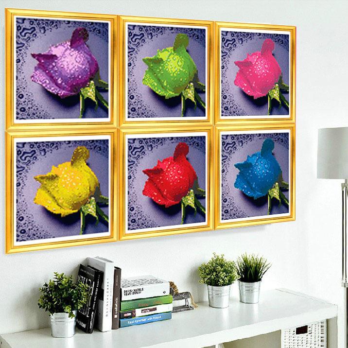Free shipping!New DIY diamond Embroidery beautiful rose 3D diamond painting of Cross stitch kit living room Needlework sets(China (Mainland))