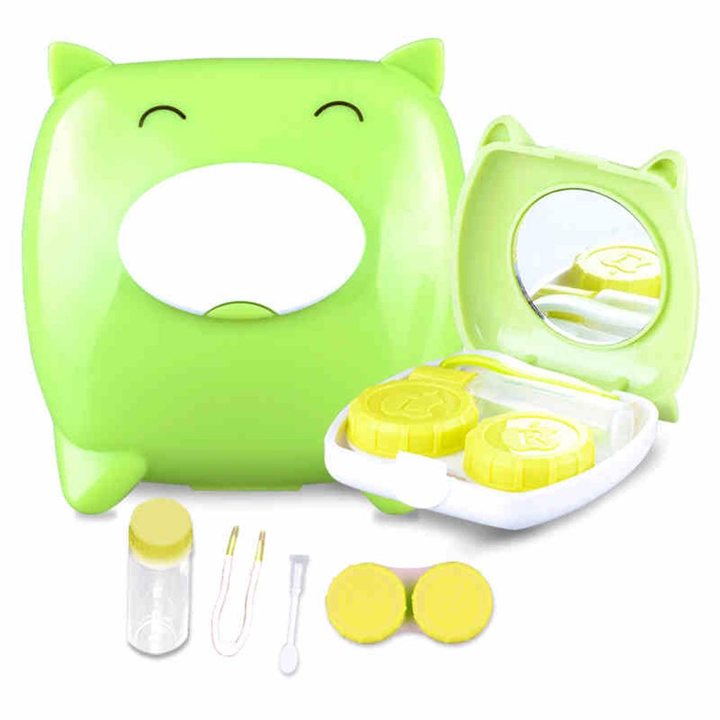 4 ABS color Limpio Unisex Lindo Cerdo de la Historieta de Lentes de Contacto Caja del Compañero Caja de Lentes de Contacto