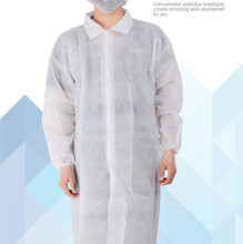 3pcs Free Shipping Wholesale Cheap Disposable Non- Woven Lab Coat White Lad Safety Work Clothing 60gsm Factory Price