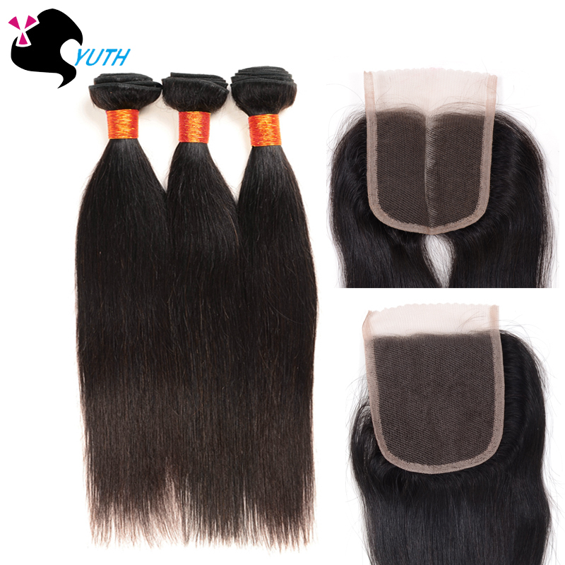 Eurasian Virgin Hair With Lace Cloaure Straight 4pcs Human Hair Weaving Free/Middle Part Lace Closure ROSA/YUTH HAIR aliexpress