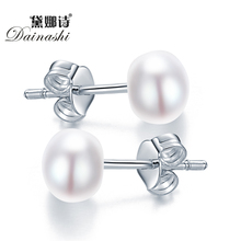 Classic Pearl Earring White Pink Purple Black Color Freshwater Pearl Earring 925 Stering Silver Stud Earring Wholesale Discount(China (Mainland))