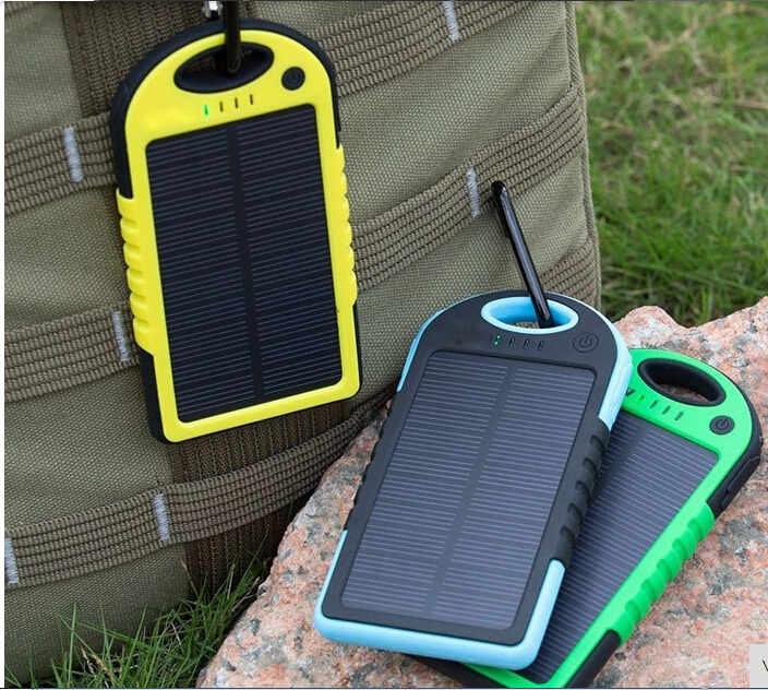 1 Pcs 5000 mah Portable Solar Power Bank waterproof Enternal battery power bank phone charger for Iphone HTC Lenovo Mipad(China (Mainland))