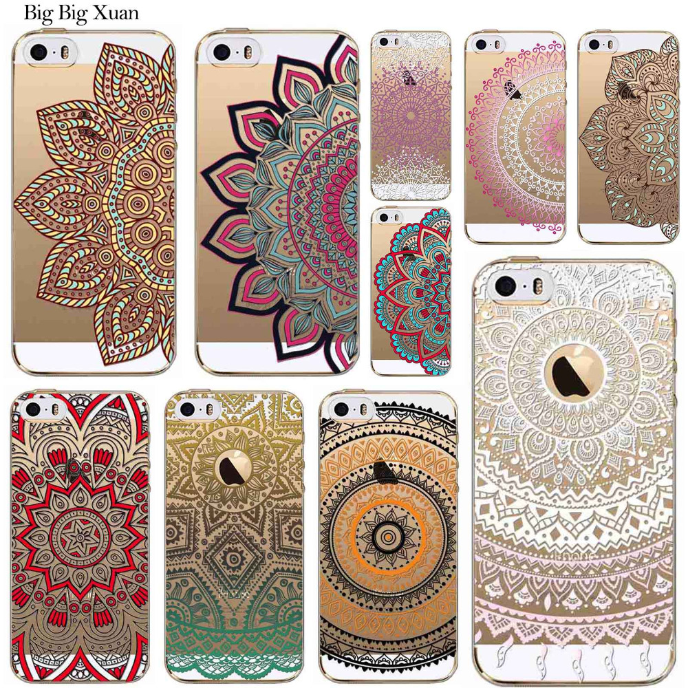 New Cases For iphone 5C Colorful Floral Paisley Flowers Covers Clear TPU Retro Vintage Mandala Henna Hollow Coque For Apple 5C(China (Mainland))