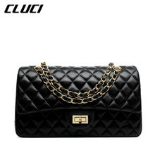 CLUCI 2016 Women Shoulder Bags Ladies Handbags Cheap Hasp Soft Sheepskin Trunk Plaid Women Messenger Bags Black Vintage(China (Mainland))