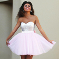 2016 New Pink Short Prom Dresses Sweetheart Top Sequins Tulle Light Pink Cocktail Dresses Back Bow