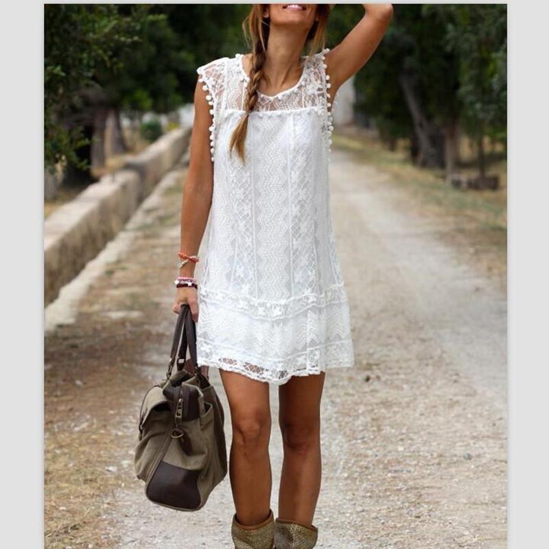 Plus Size 2016 Sexy Summer Women Tassel Dress Casual Sleeveless Beach Short Dress Solid White Mini Lace Dress Feminina Vestidos(China (Mainland))