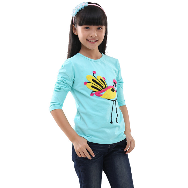 2015 spring and autumn new styles kids t-shirt baby girls birds pattern simple styles long sleeve t-shirt casual tops T24023(China (Mainland))