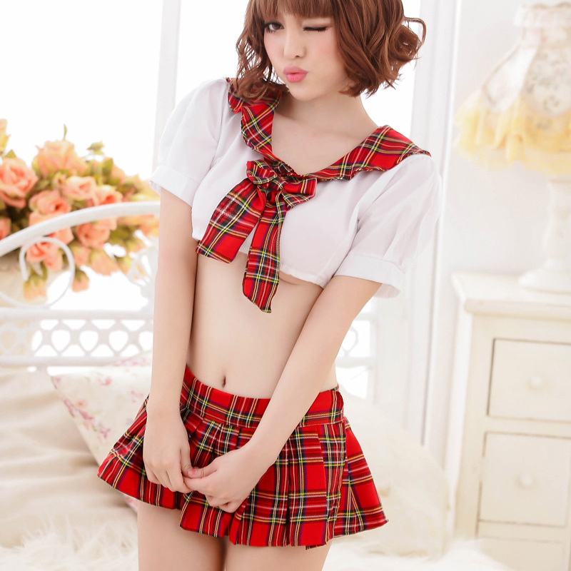 Hot Japanese Style Schoolgirl Uniforms set Sexy Dress school Uniform suit Performance Cosplay Dress Erotic Lingerie Skirt 80622(China (Mainland))