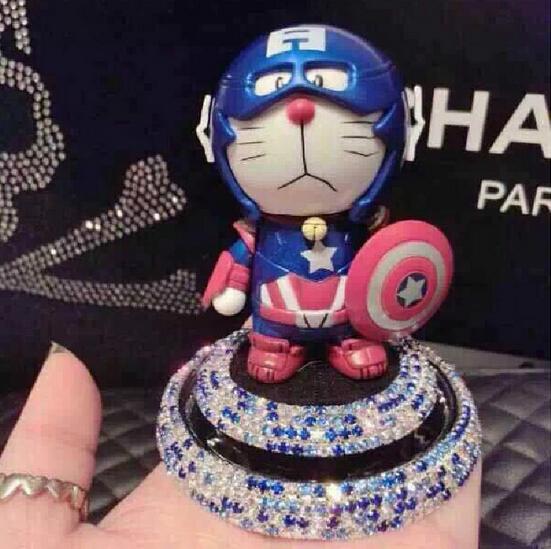 New Doraemon Captain America Air Freshener Perfume Diffuser for Auto Car Perfume Holder Plastic Air Freshener Cleaner In Car(China (Mainland))