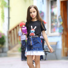 Girls T Shirt Cartoon Characters Cute Bunny Rabbit Black Shirts School Teens Age 5 6 7 8 9 10 11 12 13 14T Years Old Clothes - Baby Shally's Shop store