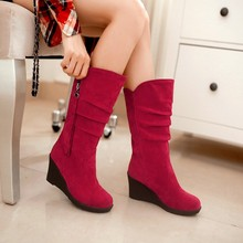 Boots Flock new Woman's shoes 31 32 33 48 47 46 45 44 43 40 41 high heel 3CM Wedges EUR Size 30-49 - Emma's Fashion Women store