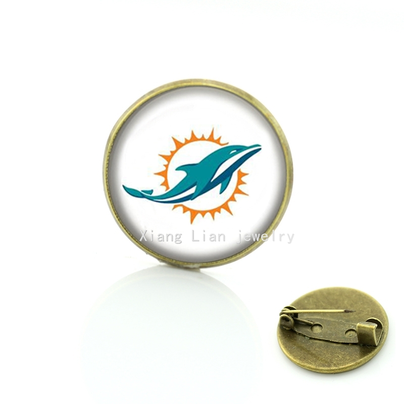 High quality hot sale dolphin and sun picture brooch Miami Dolphins team Newest mix 32 NFL team brooch pins men accessory NF145(China (Mainland))