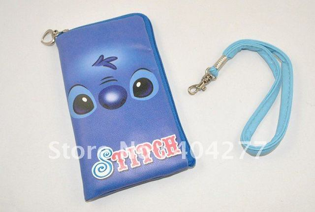 Free shipping,Stitch PU Pouch Case Bag for Mobile Phone MP3 MP4