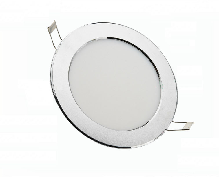 Free shipping AC85~260v LED Panel Lights low profile round led ceiling light 5w 14.5mm high silver surface lamp(China (Mainland))