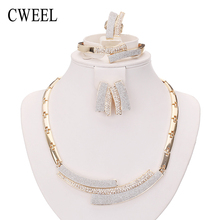 CWEEL Fashion Necklace Earrings Bracelet Ring Gold Plated Jewelry Sets For Women Wedding Imitation Crystal Holiday Accessories(China (Mainland))