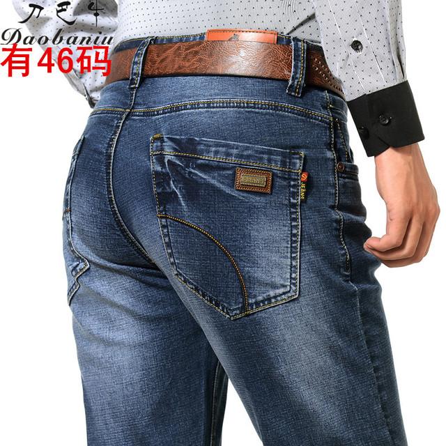 Мужская высокая стретч новый джинсы человек прямо широкий жирные джинсы деловых людей ...