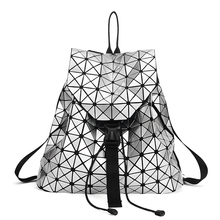 Fashion Women Drawstring Backpack Diamond Lattice Geometry Quilted Ladies Backpack Sac Bag For Teenage girl Bao Bao School Bags(China (Mainland))