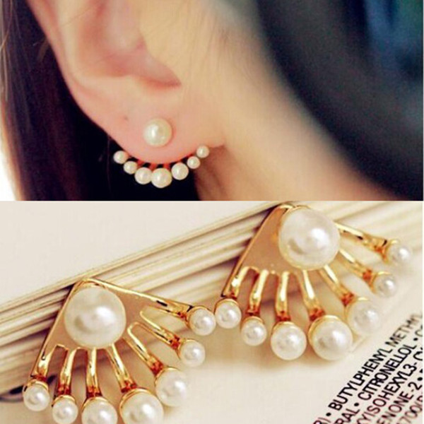 Fashion Korean Small Imitation Pearl Earrings Dragon Hand Ear Cuff Ear Stud New(China (Mainland))