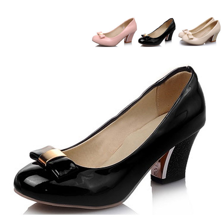 2015 Fashion Chunky Heel Butterfly Shoes,Round Toe 2 Inch Heels Butterfly Women's Shoes,Size 4 High Heels Chunky Heel Pumps(China (Mainland))