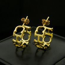 316 Titanium Steel brand titanium steel geometric fashion jewelry korean 18k gold big cc 18k hoop earrings of party ER190(China (Mainland))