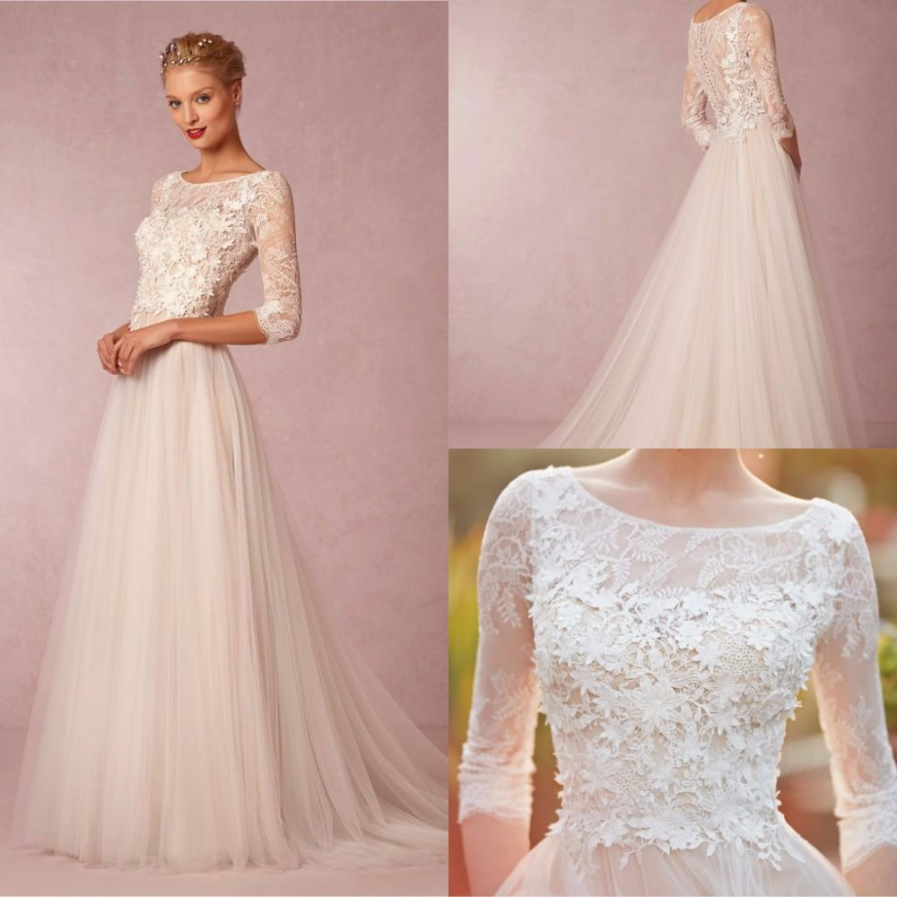 Plus Size Wedding Dresses 3 4 Sleeve : Aliexpress buy spring simple wedding dresses a line