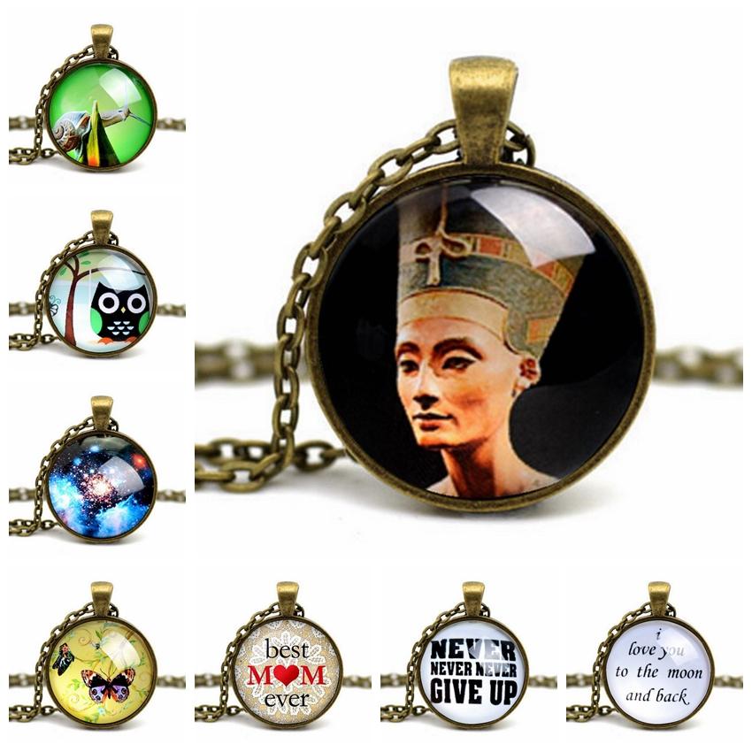 Fine Jewelry Collares Mujer Jewelry Galaxy Nebula Pendant Necklace Cabochon Choker Letter Animal Statement Colares Femininos