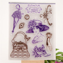 """lady and bag design"" Transparent Clear Silicone Stamps for DIY Scrapbooking Kids Christmas for Fun Decoration Supplies CC-113(China (Mainland))"