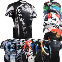 Multi-functional Men's Short Sleeve Crew Neck Fixgear Athletic Training Fitness Tops Shirts Sports Graphic Tee Jersey Wholesales