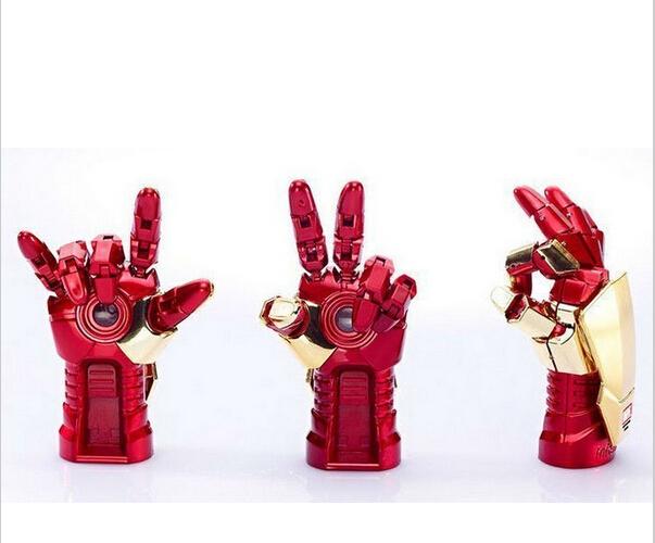 2014 Newest wholesale Fashion Avengers Iron Man 3 hand LED Flash 4GB 8GB 32GB USB Flash 2.0 Memory Drive Stick Pen/Thumb/Car(China (Mainland))