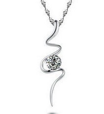 925 Sterling Silver Pendant Platinum Plated Shiny Pendant Fashiont Wholesale Pendant Necklace(China (Mainland))