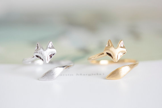 New fashion Jewelry Silver Ring High quality 18K Gold Plated Fire Fox Ring Couple rings Nickle