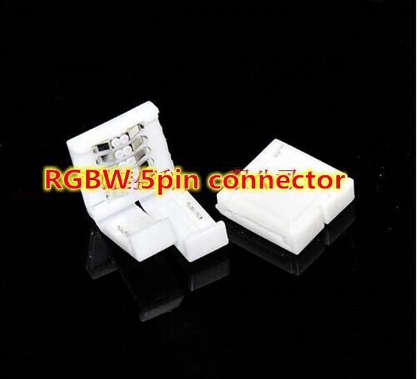 Здесь можно купить  200pcs/lot,  RGBW LED conector 5 pin 12mm , led strip connector 5050 Female jack coupler, no soldering, Factory Wholesale  Свет и освещение