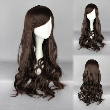 Long Kinky Curly Dark Brown  Lolita Personality Cospaly  Wig