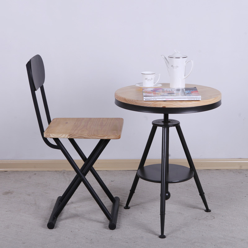 European retro do the old wood bar stool rotating lift Creative antique wrought iron casual coffee bar chairs(China (Mainland))