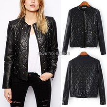 New Winter Women Trendy Bloggers Street Quilted Synthetic Faux Leather Punk Rivet Sequined Motorcycle Biker Bomber Jacket Coat(China (Mainland))