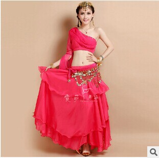 New Arrival nice Belly Dance Costumes Top+Skirt dancing practise Dress Set 2pcs/set hot-selling 4 colors(China (Mainland))