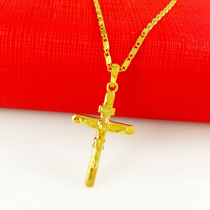 2014 New Fashion Men or Women Wedding Jewelry 24K Gold Plated Cross Pendants Necklaces Chain Free Shipping A056(China (Mainland))
