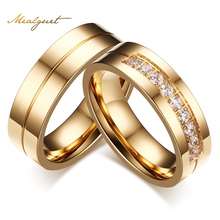 Buy Meaeguet Gold-Color CZ Wedding Rings Women Man Cubic Zirconia Ring Stainless Steel Romantic Jewelry USA Size for $2.74 in AliExpress store