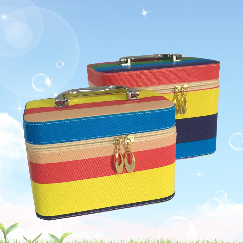 Color Striped Pu leather cosmetics box 2015 Latest waterproof cosmetic case Metal handle storage box 2pc/set(China (Mainland))