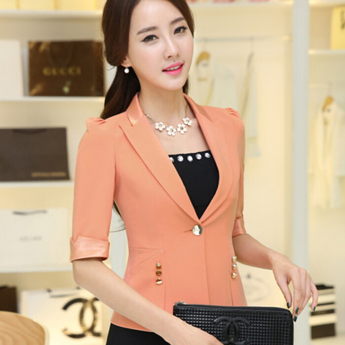 Summer candy color female blazer and jacket slim formal office thin plus size outerwear 2016 OL women's casual orange suits(China (Mainland))