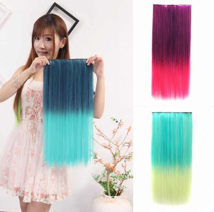 A piece of 5 Clips Heat Resistant Synthetic Clip in Hair Extensions Straight 23 55cm120g Color gradient  Hairpiece False Hair<br><br>Aliexpress